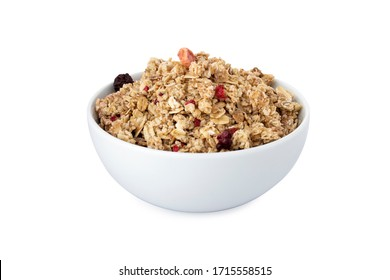 Muesli, berry muesli in white bowl, on white background (Tr- Musli)