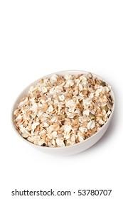 muesli in bowl on white background