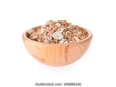 Muesli bowl on white background