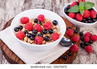 muesli breakfast on a wooden table