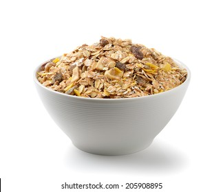 muesli breakfast placed in the bowl on white background