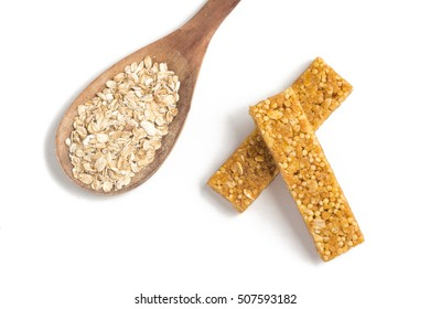 Muesli Cereal Bars. Nutri, Oat, Protein Bars isolated on white background