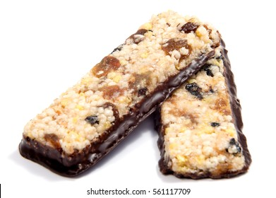 Muesli Cereal Bars. Nutris Oat Protein Bars isolated on white background