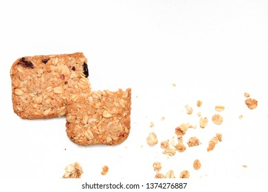 muesli cookies isolated on white background, selective focus. Top view.