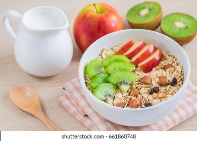 Muesli with fresh fruit and milk