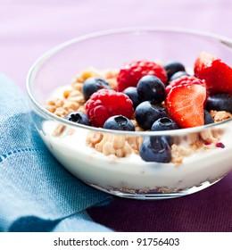 Muesli with fresh fruits and yogurt