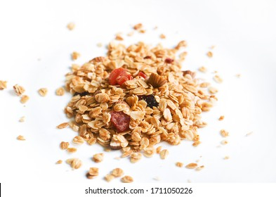 Muesli, granola healthy meal on white background, healthy food