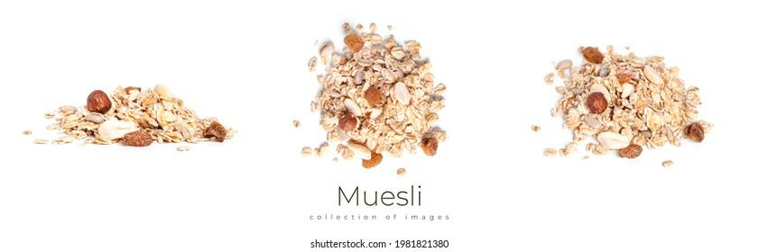 Muesli isolated on a white background. Granola isolated. High quality photo