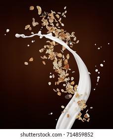 muesli with milk splash against brown background