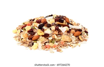 Muesli - mixed fruit and nuts with cereal flakes and seeds, isolated on a white background