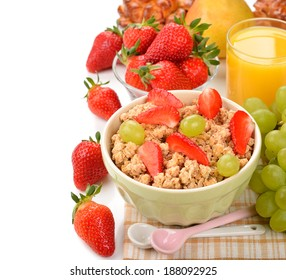 Muesli with strawberries on a white background