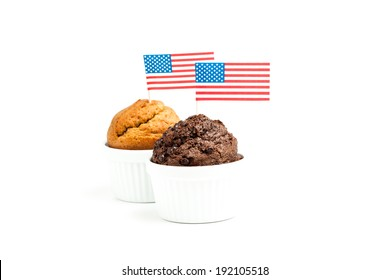 Muffin cakes with american flag - 4th of july concept - isolated on white