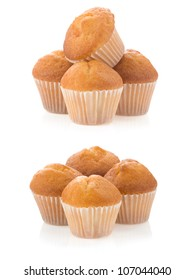 muffin cakes collage isolated on white background