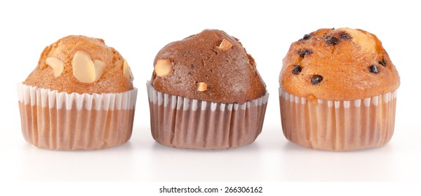 muffin cakes isolated on white background