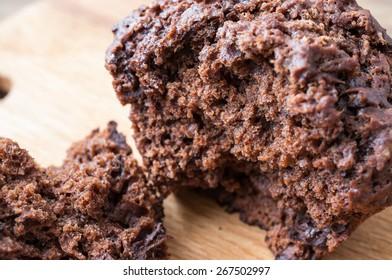 Muffin chocolate banana inside. Close-up