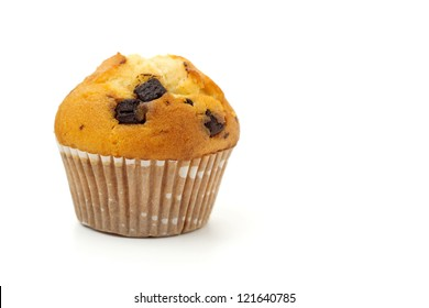 muffin with chocolate chips isolated on white background