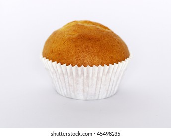 Muffin on white background.