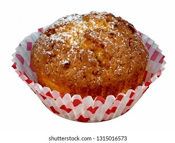muffin on white background with powdered sugar