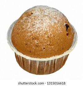 Muffin with raisins and powdered sugar