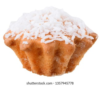 Muffins with coconut dressing isolated on white background.