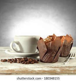 muffins and coffee cup