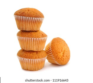 Muffins isolated on white background
