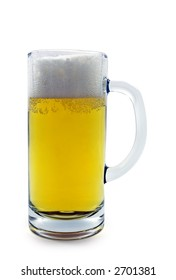 Mug with beer. Clipping path included.
