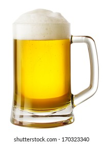 Mug of beer with foam isolated on white background