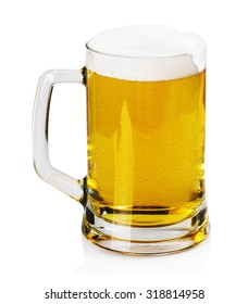 mug of beer with foam on a white background