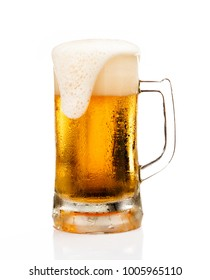 Mug of beer with froth foam on glass isolated on white background food and drink object design