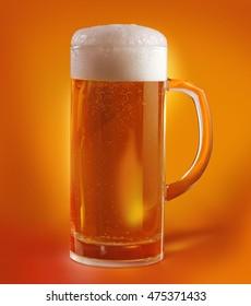 Mug with beer on orange background/retouch