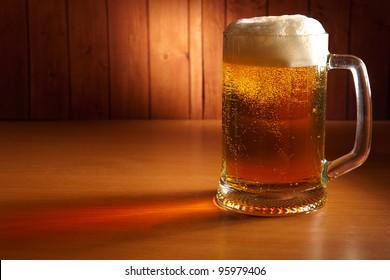 mug of beer on a pub table