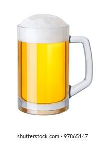 mug of beer on white background