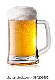 Mug of beer with thick foam isolated on white background