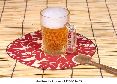 Mug of beer and Uchiwa(japanese fan)