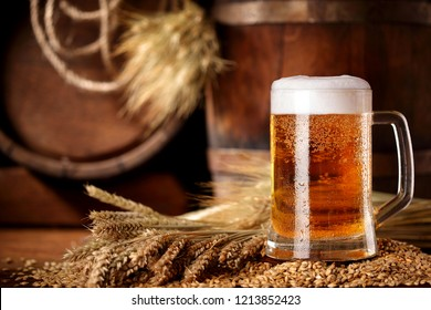 Mug of beer .With wheat and barley and barrels spikes on bakcground.Still life