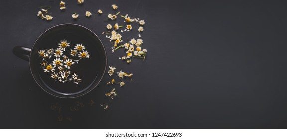 Mug of chamomile tea on dark background, top view with copy space for your design. Healthy tea ingredients and  home remedy for cosmetic treatment. Herbal medicine concept. Template or banner.