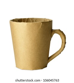 mug, cup wrapped up for an office move isolated on white with clipping path