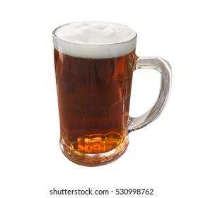 Mug of dark beer isolated on white background