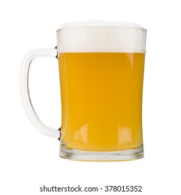 Mug filled with white beer, isolated on white