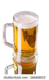 Mug fresh beer isolated on white background