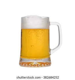 Mug fresh beer isolated on white background