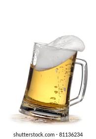 Mug full with beer up