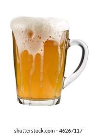 mug full beer isolated on the white background