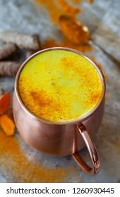 Mug of golden Milk / tumeric latte with curcuma