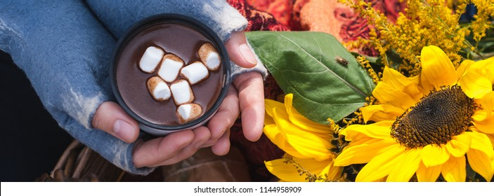 A mug of hot chocolate or cocoa with marshmallow hold by a girl hands in a fingerless mittens