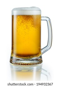 Mug of light beer isolated on white background. With clipping path