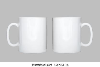 Mug mockup, blank cup on grey background