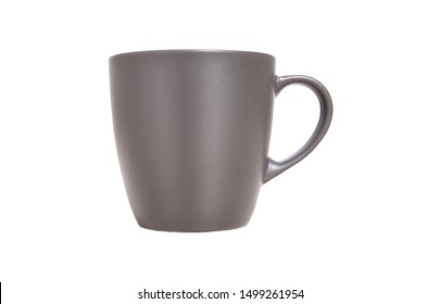 Mug Mockup. Gray Mug isolated on white closeup.