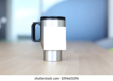 Mug with space for input the text, stylized cup on the desktop. Business and recruitment concept.